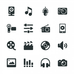 Social Entertainment Silhouette Icons