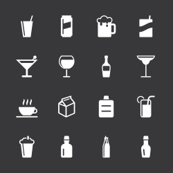 Beverage Icons Set 3 - White Series