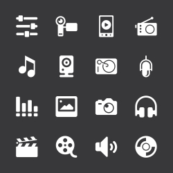 Social Entertainment Icons - White Series