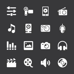 Social Entertainment Icons - White Series
