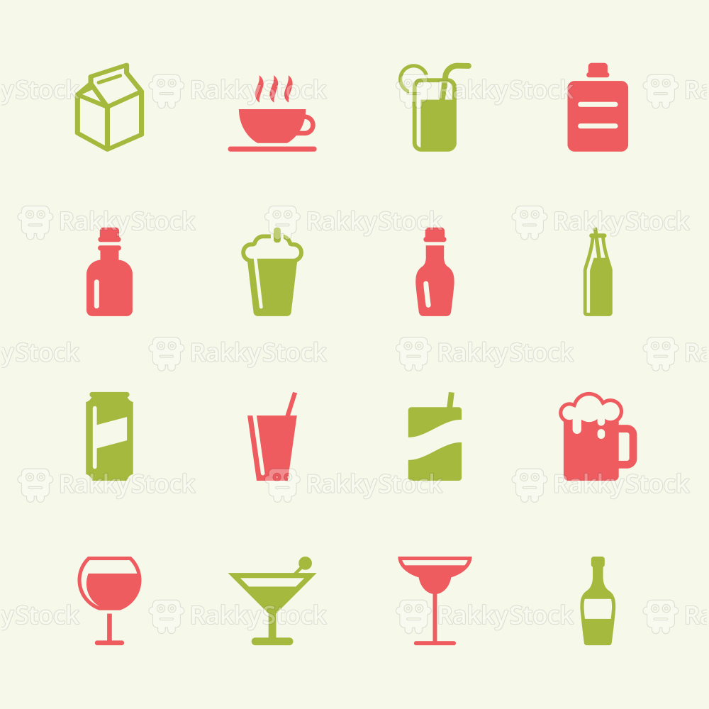 Beverage Icons Set 3 - Color Series