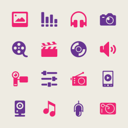 Social Entertainment Icons - Color Series