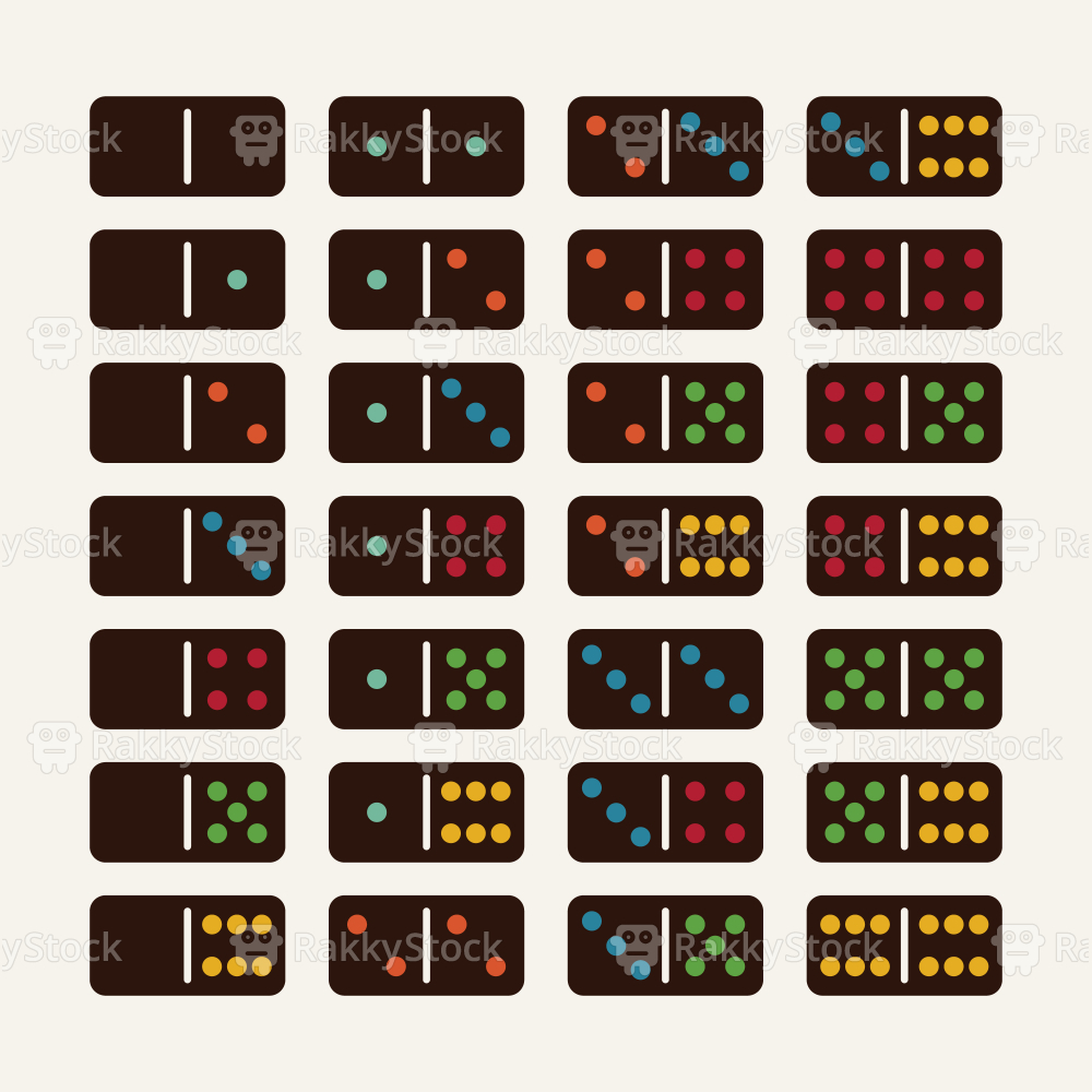 Dominoes Icons Set 2 - Color Series