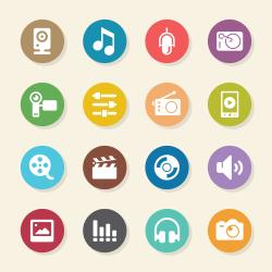 Social Entertainment Icons - Color Circle Series
