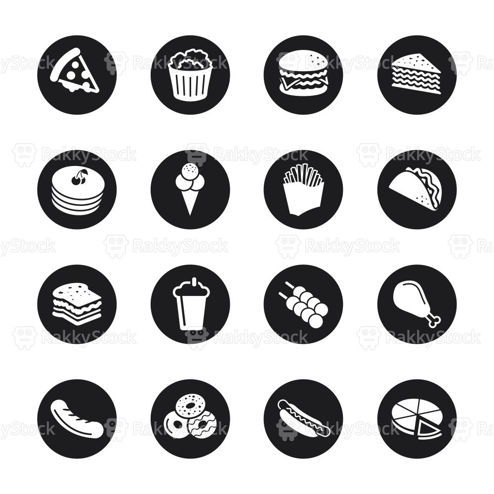 Fast Food Icons Black Circle Series Vector Rakkystock