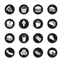 Fast Food Icons - Black Circle Series