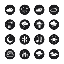 Weather Icons - Black Circle Series