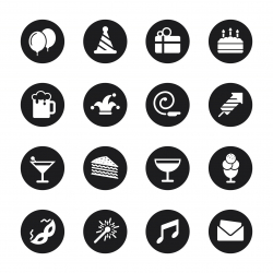 Birthday Celebrations Party Icons - Black Circle Series