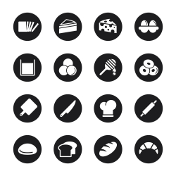 Bakery Icons - Black Circle Series