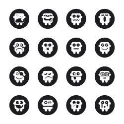 Emoticons Set 1 - Black Circle Series