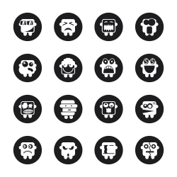 Emoticons Set 2 - Black Circle Series