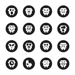 Emoticons Set 3 - Black Circle Series
