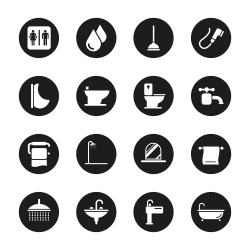 Bath and Bathroom Icons - Black Circle Series