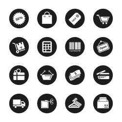 Shopping Icons - Black Circle Series