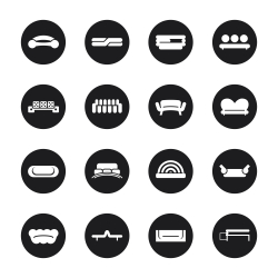 Sofa Design Icons - Black Circle Series