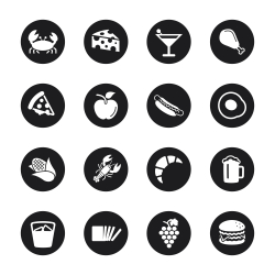 Food and Drink Icons Set 1 - Black Circle Series