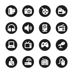 Media Icons - Black Circle Series