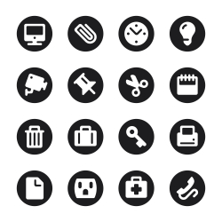 Office Icons Set 1 - Black Circle Series
