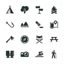 Camping and Outdoors Silhouette Icons