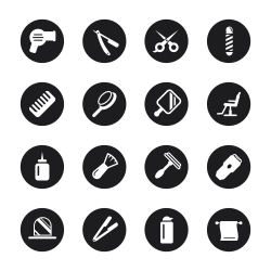 Hair Care Barber Icons - Black Circle Series