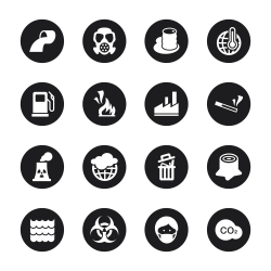 Pollution Icons - Black Circle Series