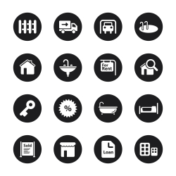Real Estate Icons Set 1 - Black Circle Series