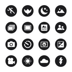 Camera Menu Icons Set 1 - Black Circle Series