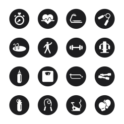 Fitness Icons - Black Circle Series
