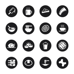 Food and Drink Icons Set 2 - Black Circle Series