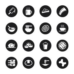 Food and Drink Icons Set 2 - Black Circle Series