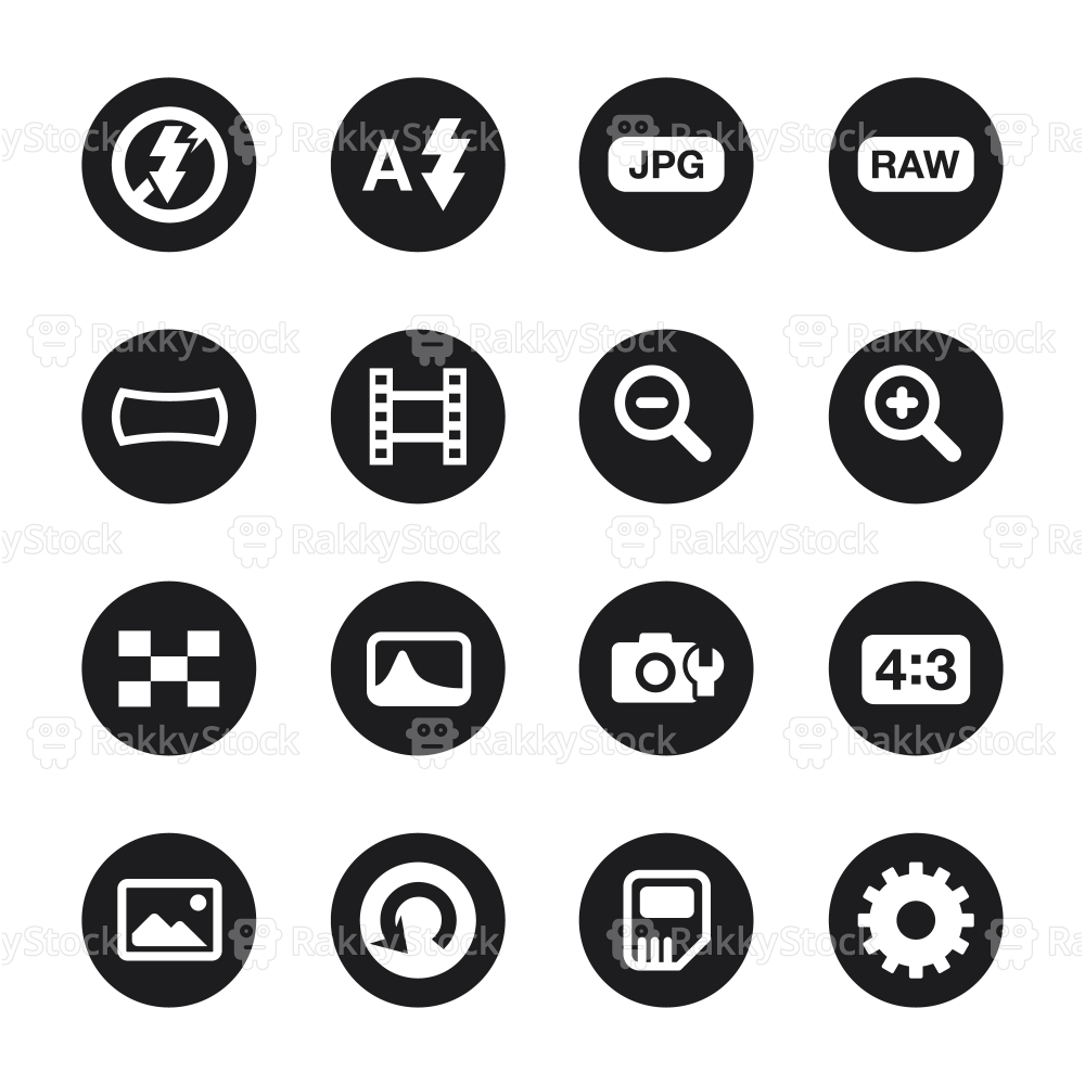 Camera Menu Icons Set 3 - Black Circle Series
