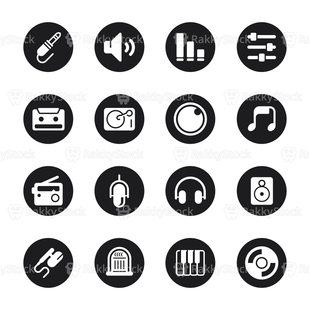 Music and Audio Icons - Black Circle Series