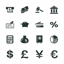 Finance and Banking Silhouette Icons