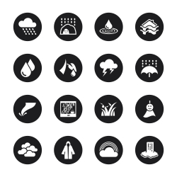 Rains Season Icons - Black Circle Series