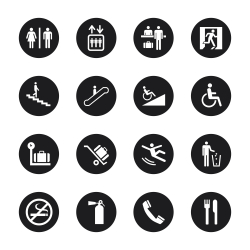 Information Sign Icons - Black Circle Series