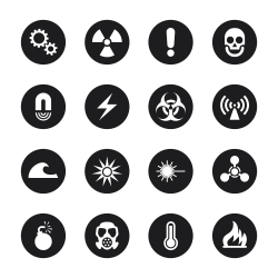 Hazard Sign Icons - Black Circle Series