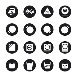 Laundry Sign Icons Set 2 - Black Circle Series