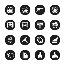 Car Wash Icons - Black Circle Series