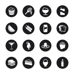 Food and Drink Icons Set 3 - Black Circle Series