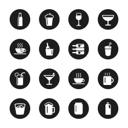 Drink Icons Set 1 - Black Circle Series