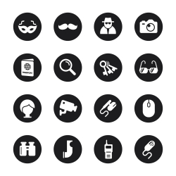 Spy Icons - Black Circle Series