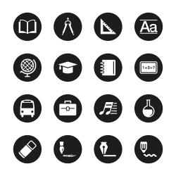 Education Icons - Black Circle Series
