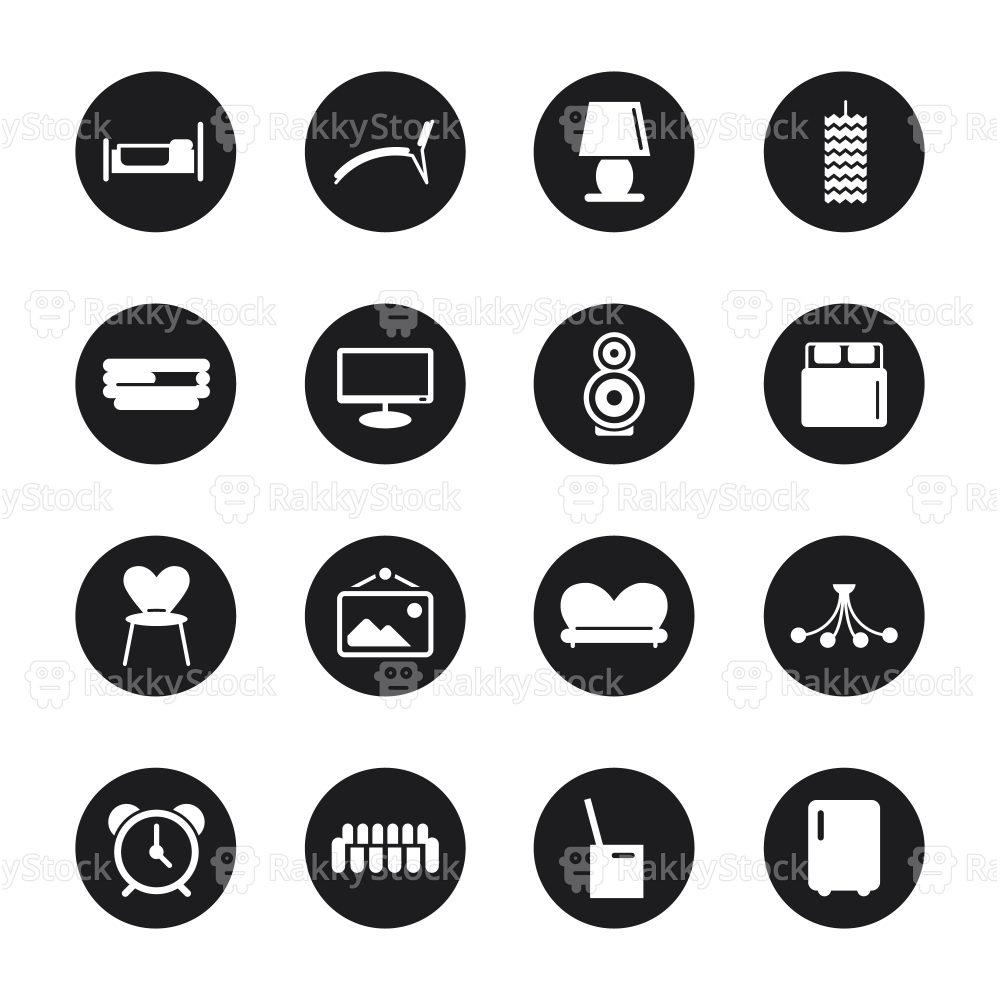 Home Interior Icons - Black Circle Series