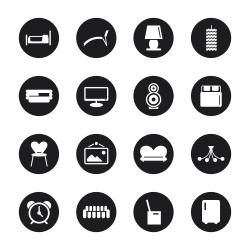 Home Interior Icons - Black Circle Series