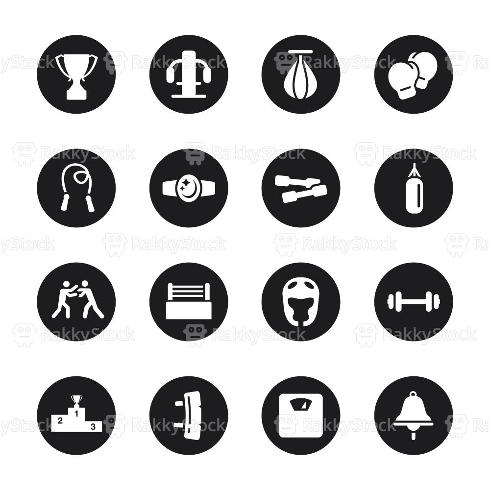 Boxing Icons - Black Circle Series