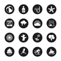 All Season Icons Set 3 - Black Circle Series