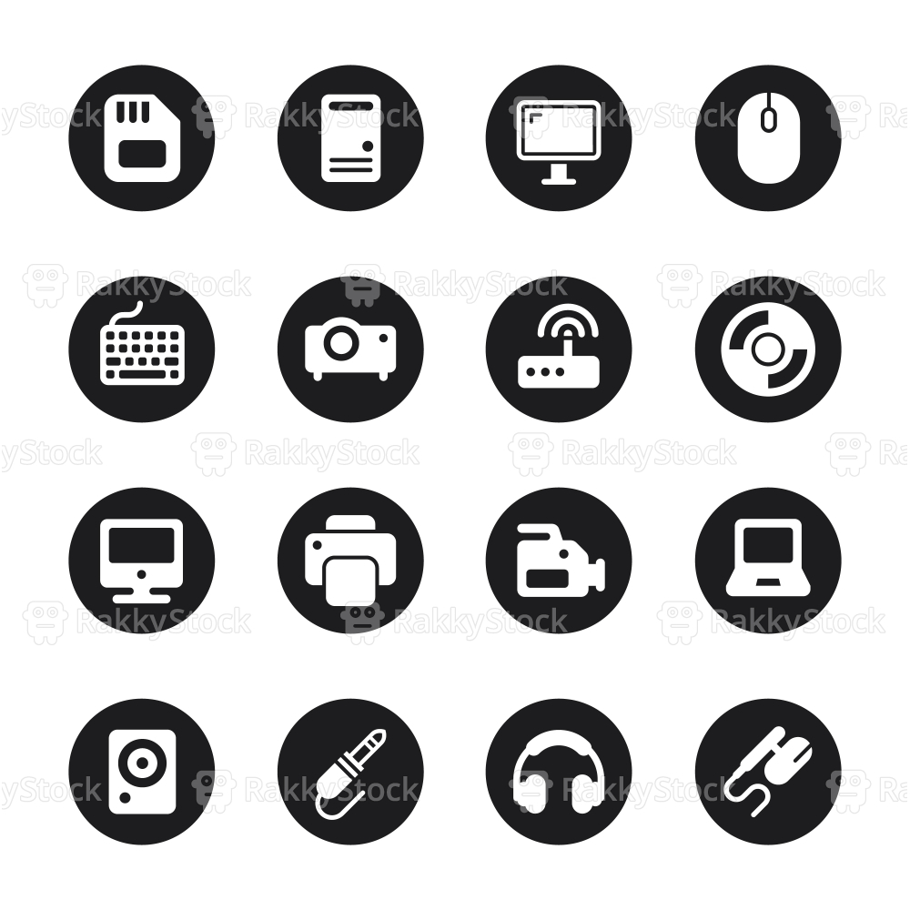 Computer Hardware Icons Set 1 - Black Circle Series