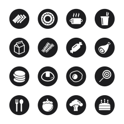 Eating Icons Set 1 - Black Circle Series