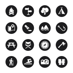 Camping and Outdoors Icons - Black Circle Series