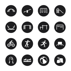Playground Icons Set 1 - Black Circle Series